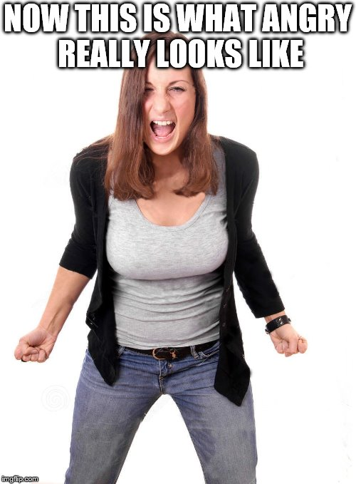 angry woman | NOW THIS IS WHAT ANGRY REALLY LOOKS LIKE | image tagged in angry woman | made w/ Imgflip meme maker