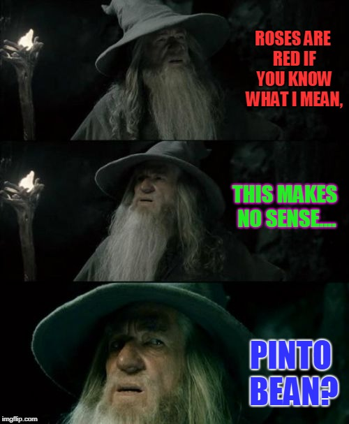 Confused Gandalf |  ROSES ARE RED IF YOU KNOW WHAT I MEAN, THIS MAKES NO SENSE.... PINTO BEAN? | image tagged in memes,confused gandalf | made w/ Imgflip meme maker