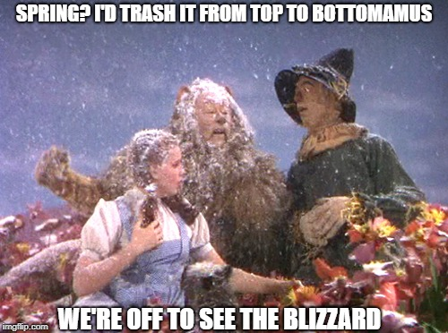 Weather, inspired by coollew and nixieknox | SPRING? I'D TRASH IT FROM TOP TO BOTTOMAMUS WE'RE OFF TO SEE THE BLIZZARD | image tagged in unusual weather we're having,ain't it,memes | made w/ Imgflip meme maker