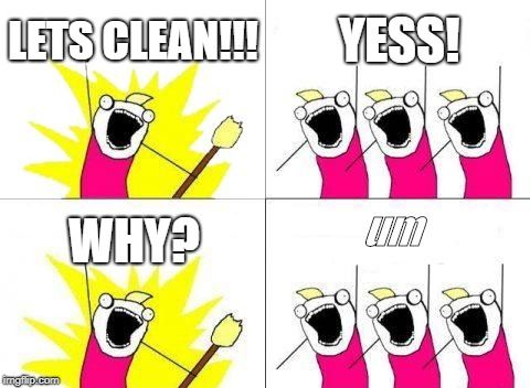 What Do We Want Meme | LETS CLEAN!!! YESS! WHY? um | image tagged in memes,what do we want | made w/ Imgflip meme maker