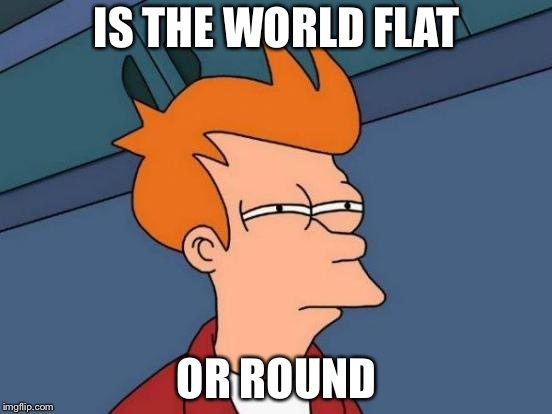 Futurama Fry Meme | IS THE WORLD FLAT OR ROUND | image tagged in memes,futurama fry | made w/ Imgflip meme maker