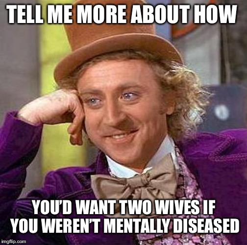 Creepy Condescending Wonka Meme | TELL ME MORE ABOUT HOW YOU'D WANT TWO WIVES IF YOU WEREN'T MENTALLY DISEASED | image tagged in memes,creepy condescending wonka | made w/ Imgflip meme maker