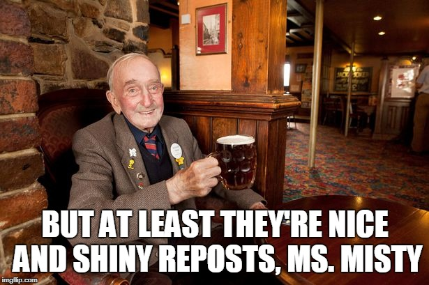 BUT AT LEAST THEY'RE NICE AND SHINY REPOSTS, MS. MISTY | made w/ Imgflip meme maker
