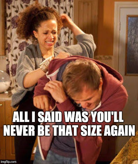 ALL I SAID WAS YOU'LL NEVER BE THAT SIZE AGAIN | made w/ Imgflip meme maker