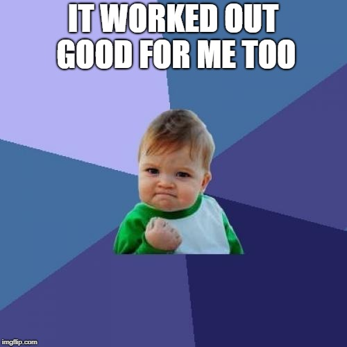 Success Kid Meme | IT WORKED OUT GOOD FOR ME TOO | image tagged in memes,success kid | made w/ Imgflip meme maker