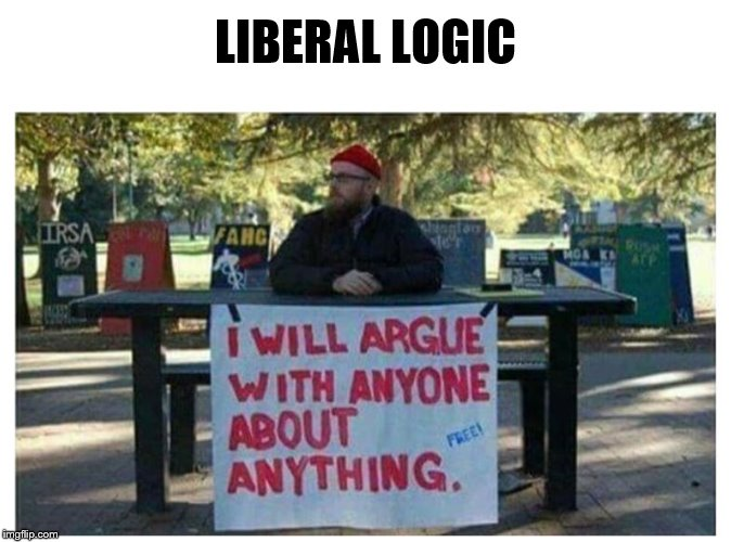 LIBERAL LOGIC | image tagged in argue about anything | made w/ Imgflip meme maker