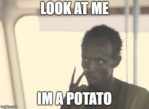 I'm The Potato Now | LOOK AT ME IM A POTATO | image tagged in memes,i'm the captain now | made w/ Imgflip meme maker