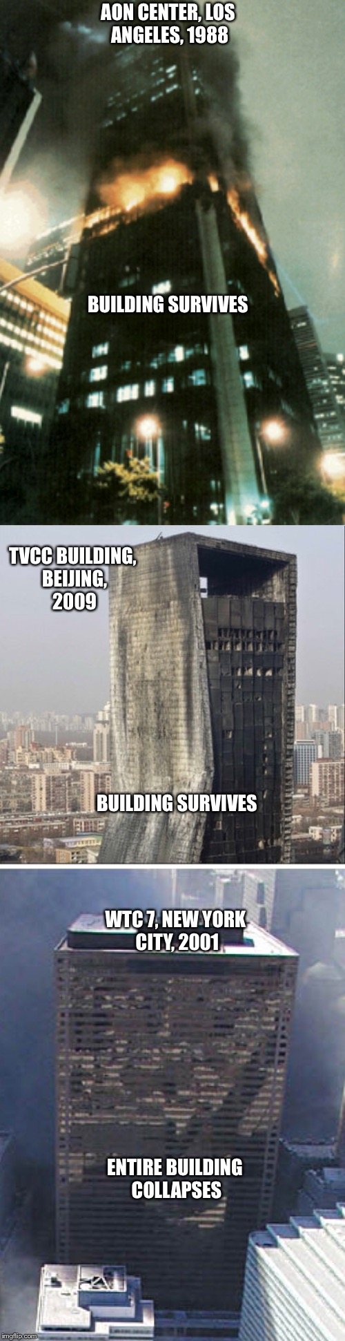 How? | AON CENTER, LOS ANGELES, 1988 BUILDING SURVIVES TVCC BUILDING, BEIJING, 2009 BUILDING SURVIVES WTC 7, NEW YORK CITY, 2001 ENTIRE BUILDING CO | image tagged in building,9/11,1980s,collapse | made w/ Imgflip meme maker