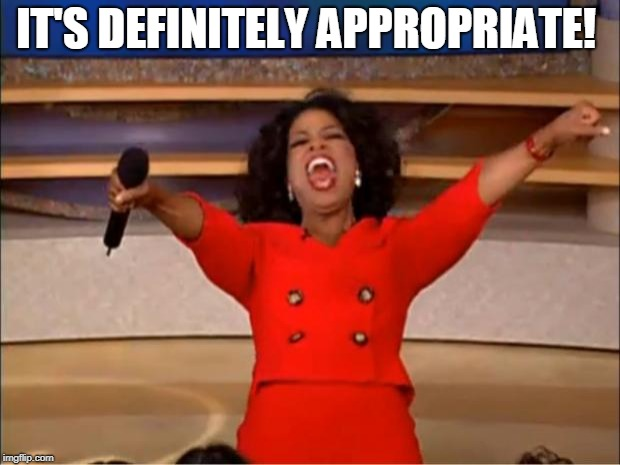 Oprah You Get A Meme | IT'S DEFINITELY APPROPRIATE! | image tagged in memes,oprah you get a | made w/ Imgflip meme maker