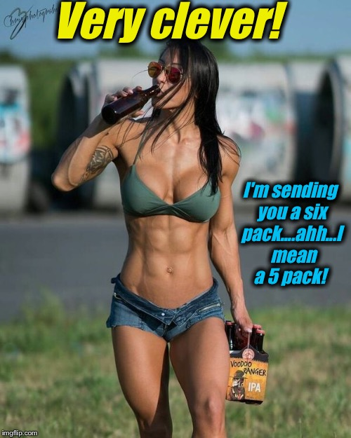Very clever! I'm sending you a six pack....ahh...I  mean a 5 pack! | made w/ Imgflip meme maker