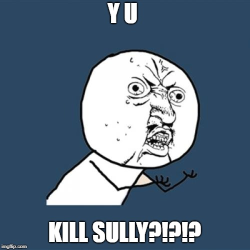 Y U No Meme | Y U KILL SULLY?!?!? | image tagged in memes,y u no | made w/ Imgflip meme maker
