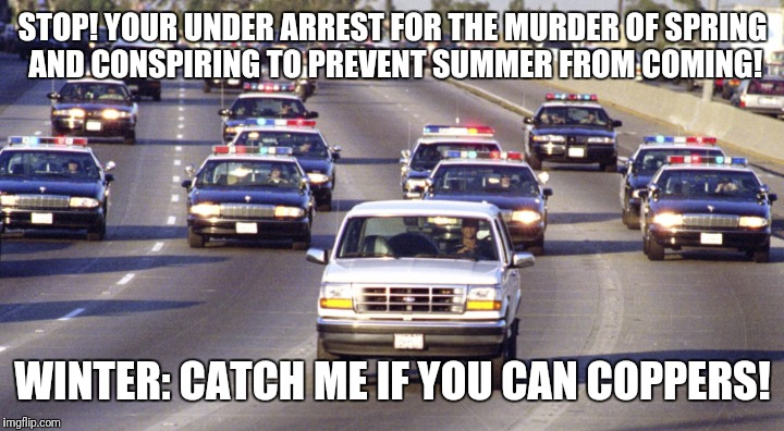 High speed chase | STOP! YOUR UNDER ARREST FOR THE MURDER OF SPRING AND CONSPIRING TO PREVENT SUMMER FROM COMING! WINTER: CATCH ME IF YOU CAN COPPERS! | image tagged in memes | made w/ Imgflip meme maker
