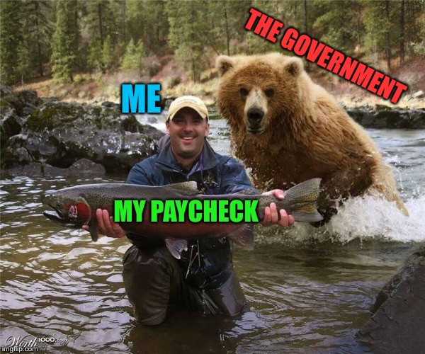 You don't have to do anything in life but die, and pay taxes.  Sometimes both at the same time! | ME MY PAYCHECK THE GOVERNMENT | image tagged in great,outdoors,taxes,big government,funny memes | made w/ Imgflip meme maker