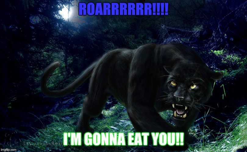 Panther | ROARRRRRR!!!! I'M GONNA EAT YOU!! | image tagged in black panther,animals | made w/ Imgflip meme maker
