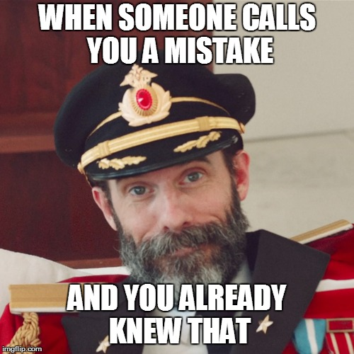 Thank You. So Much. | WHEN SOMEONE CALLS YOU A MISTAKE AND YOU ALREADY KNEW THAT | image tagged in captain obvious large,captain obvious,mistake,thanks | made w/ Imgflip meme maker