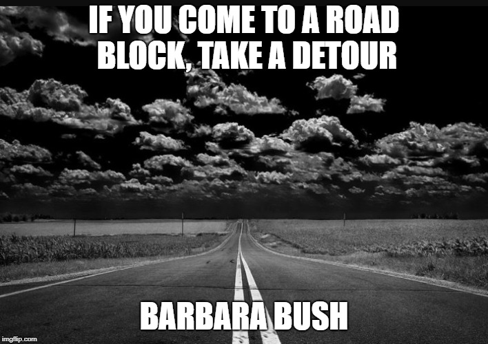 IF YOU COME TO A ROAD BLOCK, TAKE A DETOUR BARBARA BUSH | image tagged in road | made w/ Imgflip meme maker