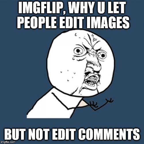 why, imgflip? why?! | IMGFLIP, WHY U LET PEOPLE EDIT IMAGES BUT NOT EDIT COMMENTS | image tagged in why u no | made w/ Imgflip meme maker