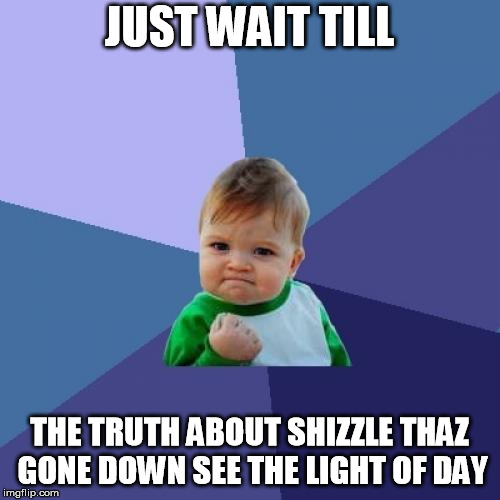 Success Kid Meme | JUST WAIT TILL THE TRUTH ABOUT SHIZZLE THAZ GONE DOWN SEE THE LIGHT OF DAY | image tagged in memes,success kid | made w/ Imgflip meme maker