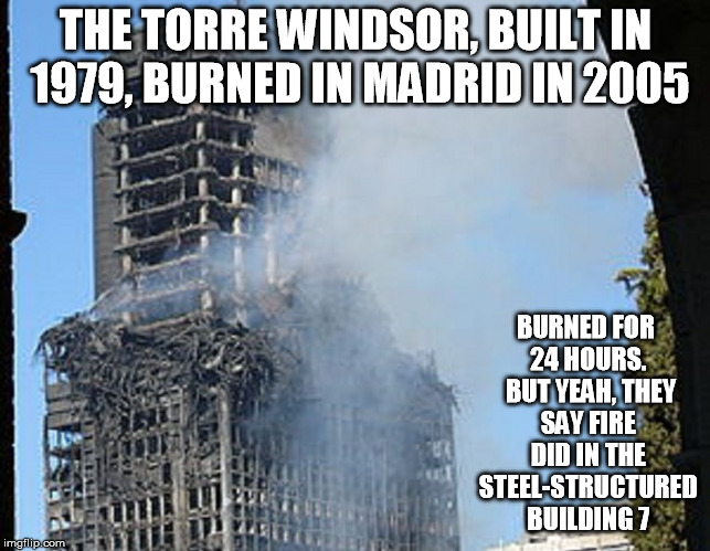THE TORRE WINDSOR, BUILT IN 1979, BURNED IN MADRID IN 2005 BURNED FOR 24 HOURS.  BUT YEAH, THEY SAY FIRE DID IN THE STEEL-STRUCTURED BUILDIN | made w/ Imgflip meme maker