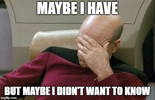 Captain Picard Facepalm Meme | MAYBE I HAVE BUT MAYBE I DIDN'T WANT TO KNOW | image tagged in memes,captain picard facepalm | made w/ Imgflip meme maker