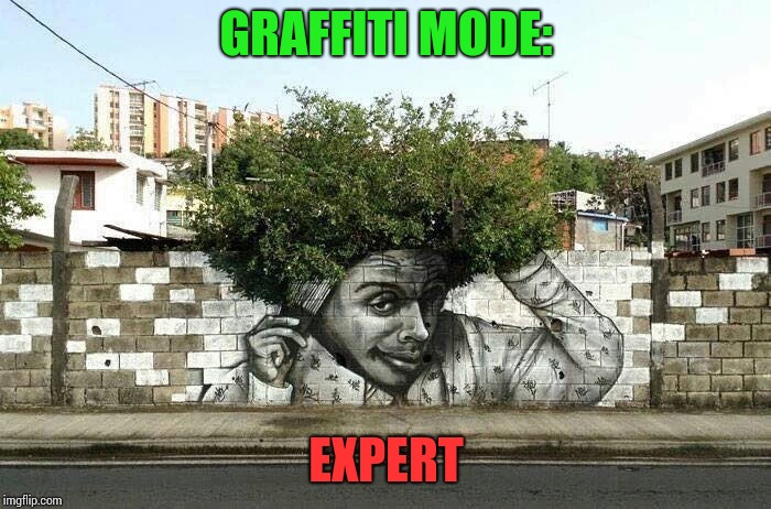 Graffiti mode | GRAFFITI MODE: EXPERT | image tagged in graffiti mode,pipe_picasso,artist | made w/ Imgflip meme maker