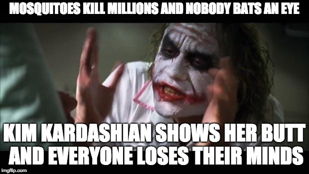 Focus your priorities, peeps | MOSQUITOES KILL MILLIONS AND NOBODY BATS AN EYE KIM KARDASHIAN SHOWS HER BUTT AND EVERYONE LOSES THEIR MINDS | image tagged in memes,and everybody loses their minds,kim kardashian,mosquito,malaria | made w/ Imgflip meme maker
