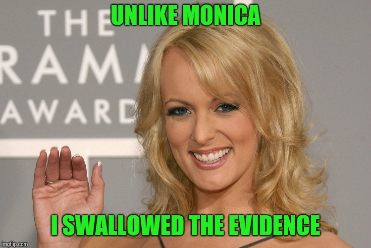 A real professional | UNLIKE MONICA I SWALLOWED THE EVIDENCE | image tagged in stormy daniels,trump,pipe_picasso,monica lewinsky | made w/ Imgflip meme maker