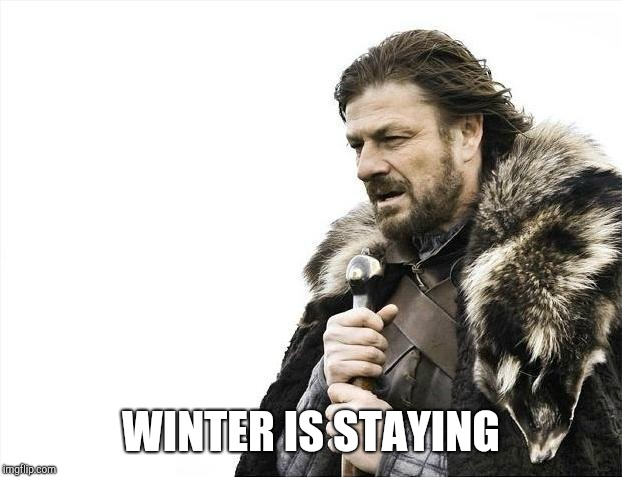 Brace Yourselves X is Coming Meme | WINTER IS STAYING | image tagged in memes,brace yourselves x is coming | made w/ Imgflip meme maker