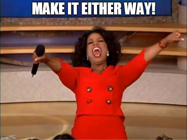 Oprah You Get A Meme | MAKE IT EITHER WAY! | image tagged in memes,oprah you get a | made w/ Imgflip meme maker