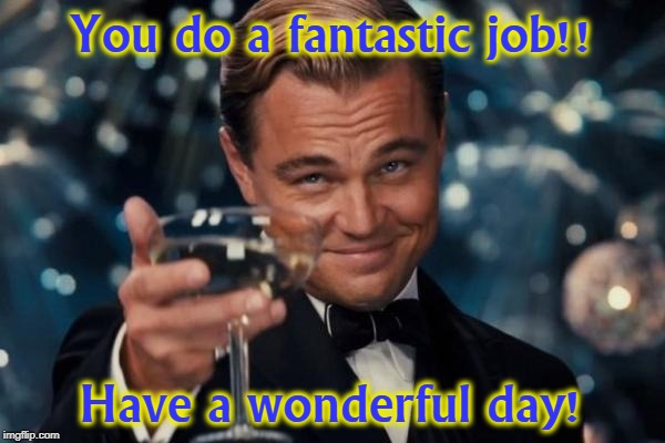 Leonardo Dicaprio Cheers Meme | You do a fantastic job!! Have a wonderful day! | image tagged in memes,leonardo dicaprio cheers | made w/ Imgflip meme maker