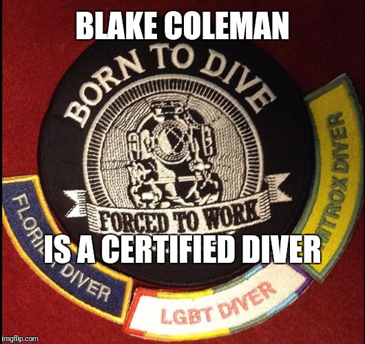 Blake Coleman is a diver | BLAKE COLEMAN IS A CERTIFIED DIVER | image tagged in dive,diver,lightning,hockey | made w/ Imgflip meme maker