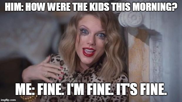 Taylor swift crazy | HIM: HOW WERE THE KIDS THIS MORNING? ME: FINE. I'M FINE. IT'S FINE. | image tagged in taylor swift crazy | made w/ Imgflip meme maker