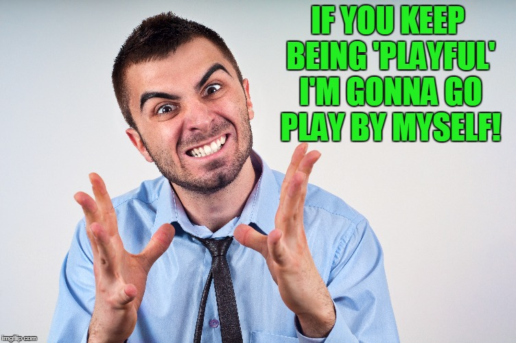 IF YOU KEEP BEING 'PLAYFUL' I'M GONNA GO PLAY BY MYSELF! | made w/ Imgflip meme maker