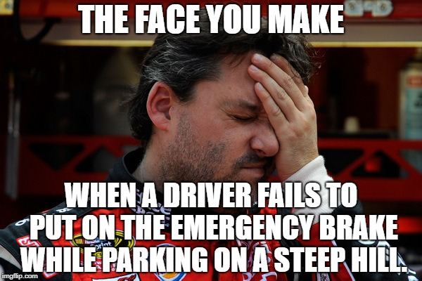 It is all downhill from here | THE FACE YOU MAKE WHEN A DRIVER FAILS TO PUT ON THE EMERGENCY BRAKE WHILE PARKING ON A STEEP HILL. | image tagged in tony stewart frustrated,memes,bad drivers,fail,park,the face you make | made w/ Imgflip meme maker