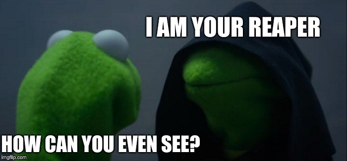 Evil Kermit Meme | HOW CAN YOU EVEN SEE? I AM YOUR REAPER | image tagged in memes,evil kermit | made w/ Imgflip meme maker