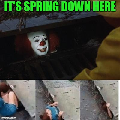 IT Sewer / Clown  | IT'S SPRING DOWN HERE | image tagged in it sewer / clown | made w/ Imgflip meme maker