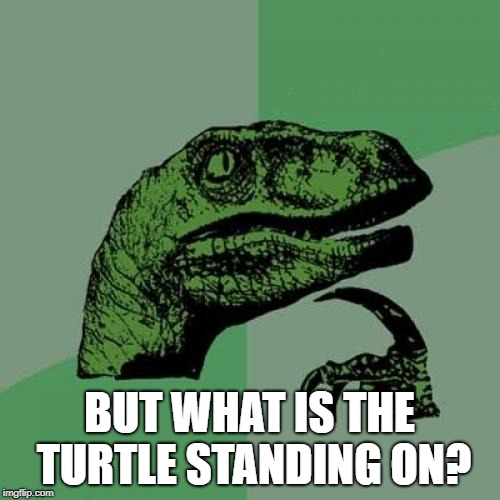 Philosoraptor Meme | BUT WHAT IS THE TURTLE STANDING ON? | image tagged in memes,philosoraptor | made w/ Imgflip meme maker