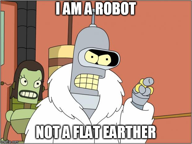 Bender | I AM A ROBOT NOT A FLAT EARTHER | image tagged in memes,bender | made w/ Imgflip meme maker