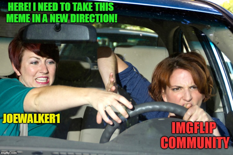 bad driving | HERE! I NEED TO TAKE THIS MEME IN A NEW DIRECTION! IMGFLIP COMMUNITY JOEWALKER1 | image tagged in bad driving | made w/ Imgflip meme maker