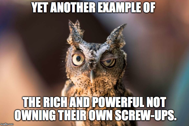 YET ANOTHER EXAMPLE OF THE RICH AND POWERFUL NOT OWNING THEIR OWN SCREW-UPS. | made w/ Imgflip meme maker