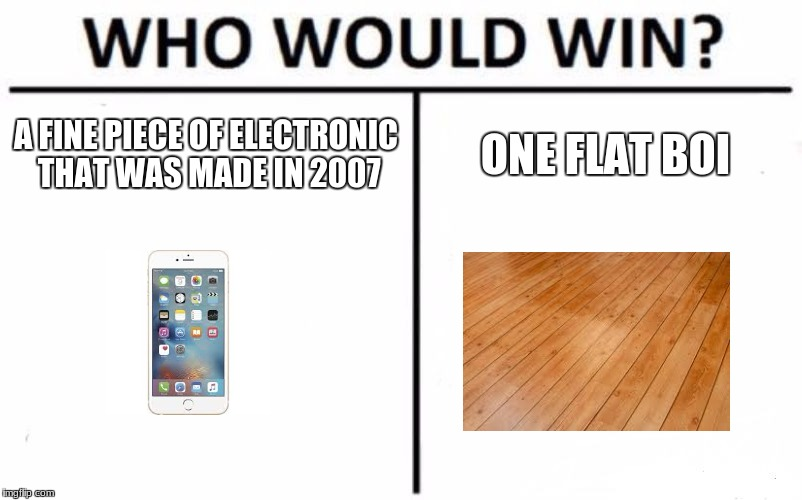 who would win | A FINE PIECE OF ELECTRONIC THAT WAS MADE IN 2007 ONE FLAT BOI | image tagged in memes,who would win | made w/ Imgflip meme maker