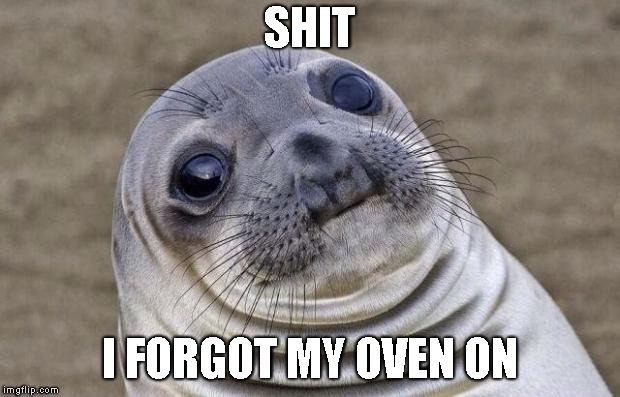 Awkward Moment Sealion Meme | SHIT I FORGOT MY OVEN ON | image tagged in memes,awkward moment sealion | made w/ Imgflip meme maker