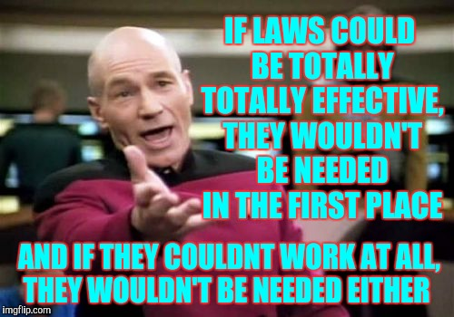 Picard Wtf Meme | IF LAWS COULD BE TOTALLY TOTALLY EFFECTIVE, THEY WOULDN'T BE NEEDED IN THE FIRST PLACE AND IF THEY COULDNT WORK AT ALL,  THEY WOULDN'T BE NE | image tagged in memes,picard wtf | made w/ Imgflip meme maker