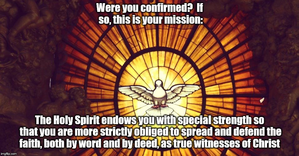 Confirmation | Were you confirmed?  If so, this is your mission: The Holy Spirit endows you with special strength so that you are more strictly obliged to  | image tagged in confirmation,holy spirit | made w/ Imgflip meme maker