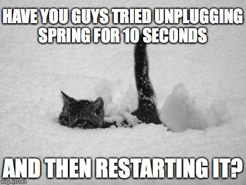 Snow Cat | HAVE YOU GUYS TRIED UNPLUGGING SPRING FOR 10 SECONDS AND THEN RESTARTING IT? | image tagged in snow cat,spring | made w/ Imgflip meme maker