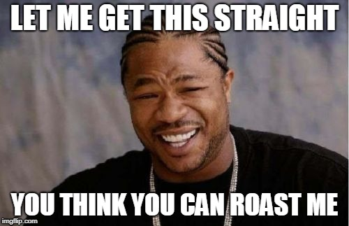 Yo Dawg Heard You Meme | LET ME GET THIS STRAIGHT YOU THINK YOU CAN ROAST ME | image tagged in memes,yo dawg heard you | made w/ Imgflip meme maker