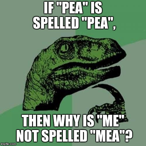 "Philosoraptor | IF ""PEA"" IS SPELLED ""PEA"", THEN WHY IS ""ME"" NOT SPELLED ""MEA""? 