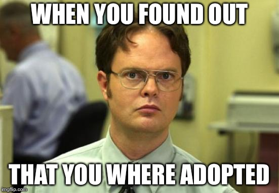 Adopted | WHEN YOU FOUND OUT THAT YOU WHERE ADOPTED | image tagged in memes,dwight schrute,adopted,funny memes,reality,lol | made w/ Imgflip meme maker