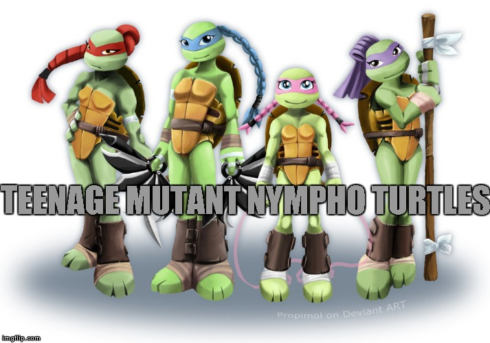 TMNT | TEENAGE MUTANT NYMPHO TURTLES | image tagged in memes,tmnt | made w/ Imgflip meme maker
