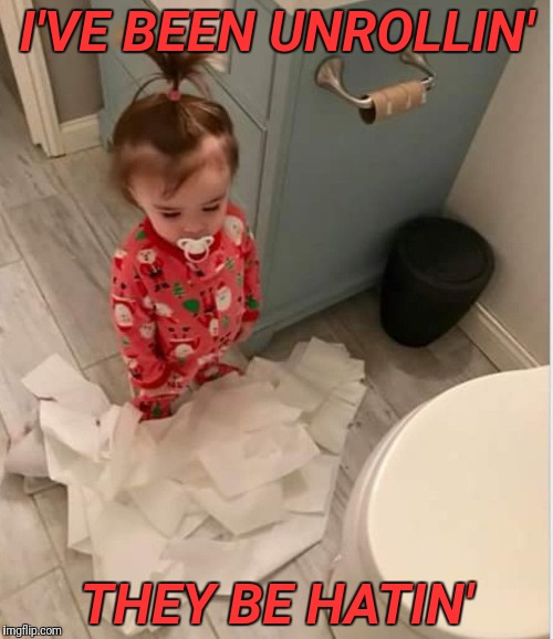 Toilet paper toddler  | I'VE BEEN UNROLLIN' THEY BE HATIN' | image tagged in memes,funny,first world problems | made w/ Imgflip meme maker